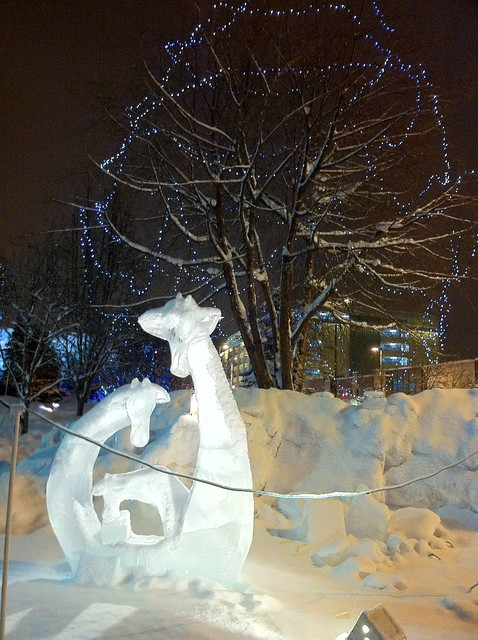 Ice sculpture - Anchorage Town Square - January 2012