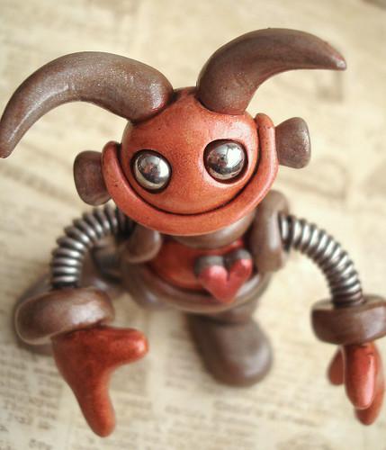 Baby Devil Bert the Robot Sculpture by HerArtSheLoves