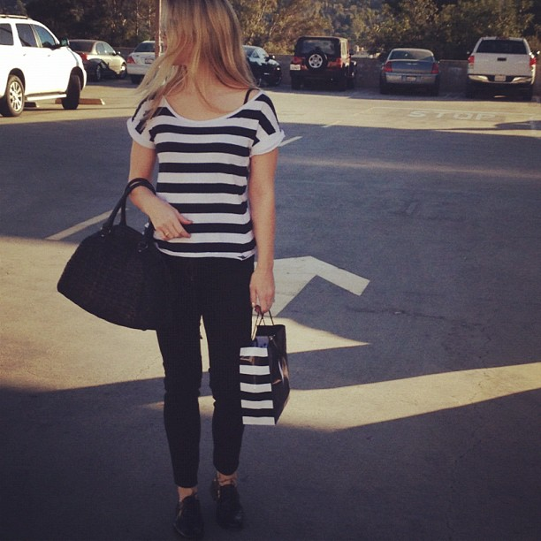 I only shop at stores whose bags match my outfit. #sephora #stripes lol #totalaccident