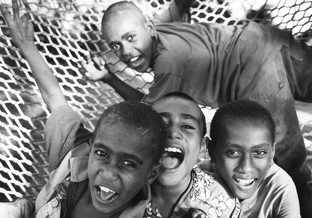 Fijian Boys in a Hammock