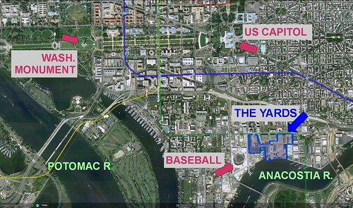 The Yards location, with US Capitol, Washington Monument, Nationals Park, & Navy Yard (via Google Earth)