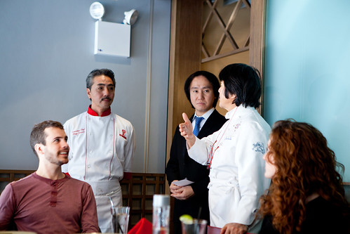 Chef Tony (Executive Chef of this Benihana location), Chef Hiroyuki Sakai's son (the gentleman in the suit), and Chef Hiroyuki Sakai