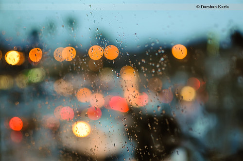 ca street sky rain lights drops twilight bokeh sanjose
