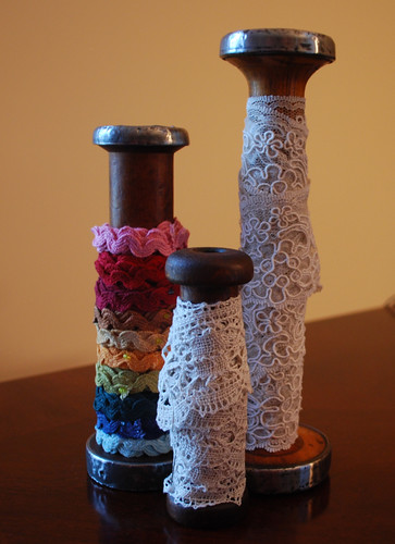 Vintage spools with lace from Germany and hand dyed rick rack