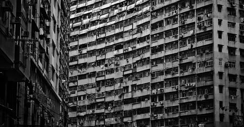 無料写真素材, 建築物・町並み, ビルディング, 家屋・住宅, モノクロ, 風景  中華人民共和国, 中華人民共和国  香港