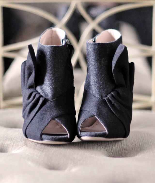 miu miu gray and black felt ankle boots
