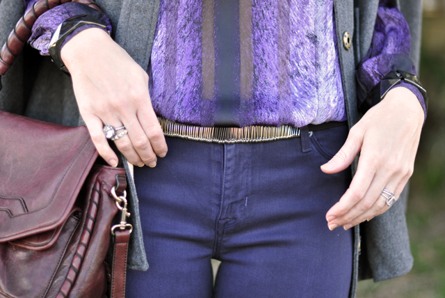 dark purple jeans -vintage blouse-cape-details