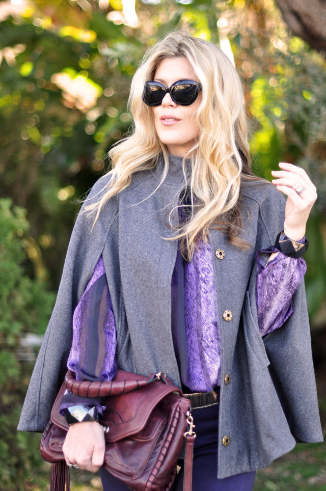 gray wool cape-vintage purple blouse-purple jeans
