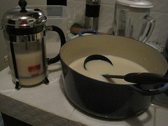 Ladle partly submerged in a pot of soy milk, which is ready to be put into the French press for filtering.