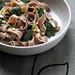 Tagliatelle con farina di castagne, gorgonzola e spinacini