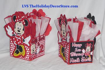 Ballon Centerpiece Minnie Mouse Birthday Party Supplies Decor Handmade Red White Black Polka Dots