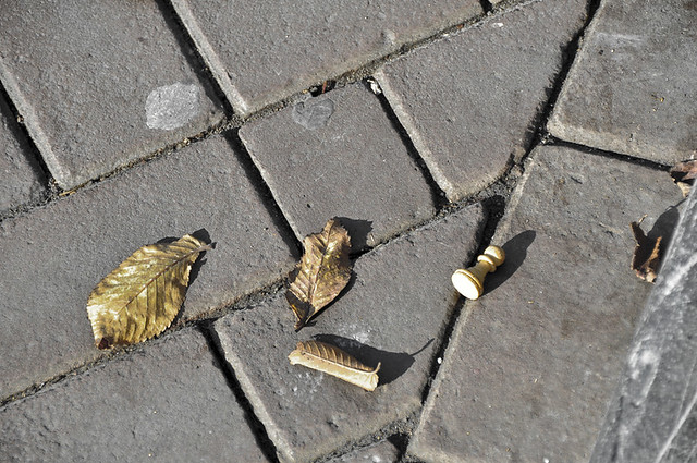 Small details in Amsterdam - a discarded chess piece on the sidewalk.