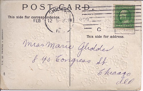 Back of Valentine Greeting-1909