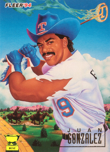 Baseball Card Bust Juan Gonzalez 1994 Fleer Pro Vision Stoner