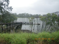 View of Railway Bridge and the fishing Pontoon, Bundaberg