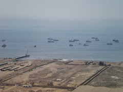 Pacific Ocean & Boats Off Coast of Lima