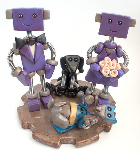 Robot Wedding Cake Topper | Lightly Rustic Purple with dog and batcat by HerArtSheLoves