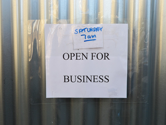 Hussey's butcher sign - reopening Saturday 11th February