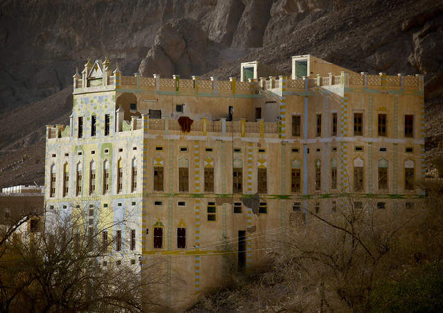Front Of A Traditional Building Down A Cliff, Decorated With Colourful Paintings, Hadramaut, Yemen