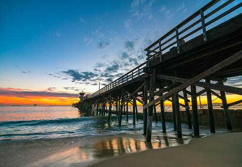 ocean california sunset reflection beach night clouds dark pier nikon waves tokina orangecounty d800 sealbeach meeyak pwpartlycloudy