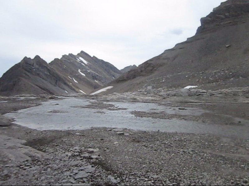 Small lake of meltwater below Bonnet Glacier