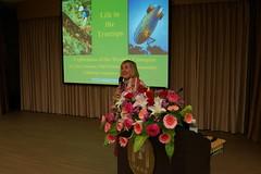 瑪格麗特‧羅曼博士在「2014森林樹冠層生態保育國際研討會」分享樹冠的神祕世界。(圖片來源:雪霸國家公園管理處)