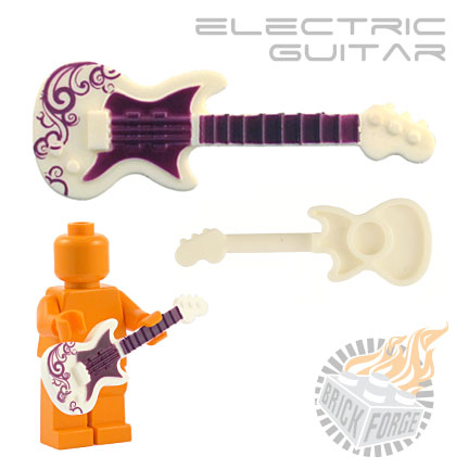 Electric Guitar - White (purple Swirl print)
