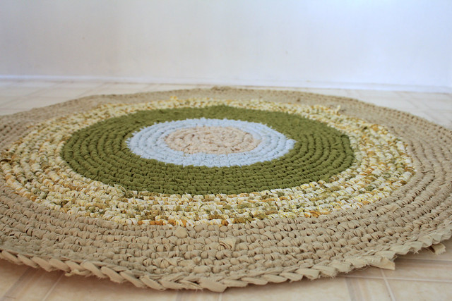 crocheted rag strip rug