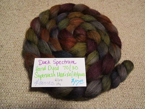Dark Spectrum merino/alpaca spinning fiber