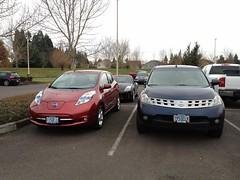 automobile, automotive exterior, family car, vehicle, nissan leaf, automotive design, crossover suv, nissan, bumper, land vehicle, hatchback,