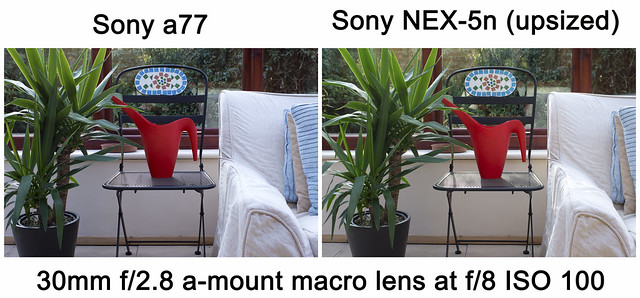 Noise comparison test between Sony a77 and Sony NEX-5n ISO100