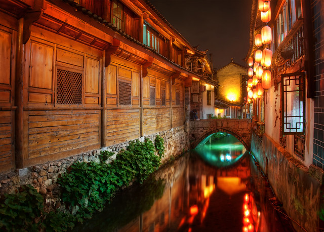 The Canals of Lijiang at Night