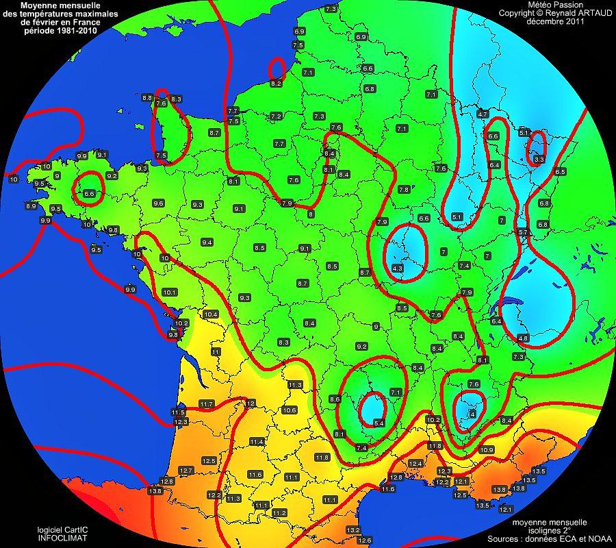 Moyennes mensuelles des températures maximales pour le mois de février en France sur la période 1981-2010
