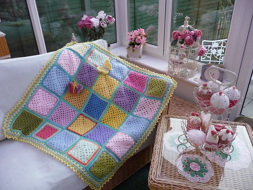This is the second Blanket I have made with Jean B's Squares. Not quite enough so I have added some from Emily too. Thank you both.