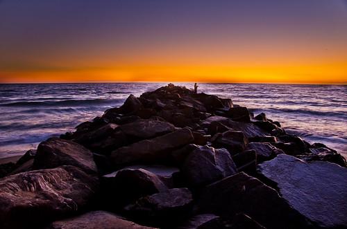 無料写真素材, 自然風景, ビーチ・海岸, 海, 朝焼け・夕焼け, 釣り
