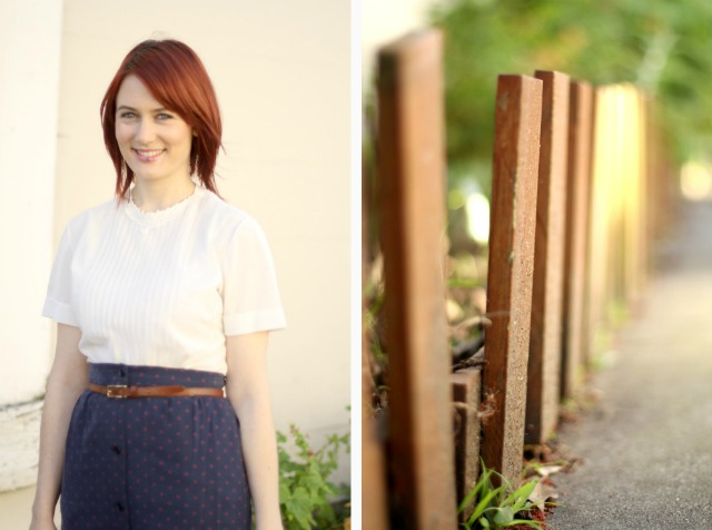 vintage blouse and fence collage