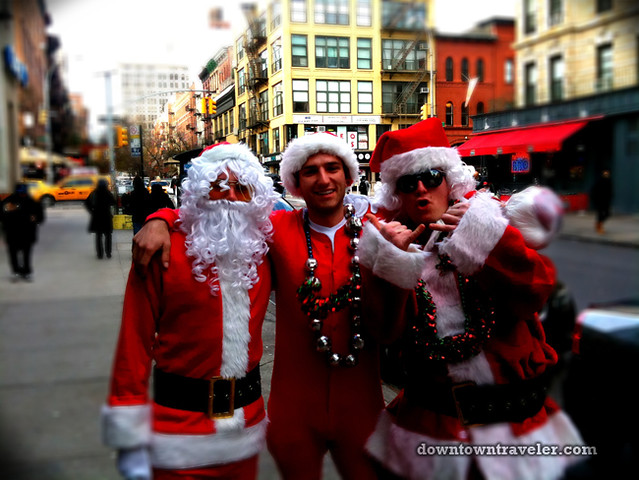 SantaCon NY 2011 East Village three santas