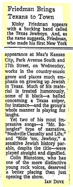 05-04-73 NYT Review - Kinky Friedman @ Max's Kansas City