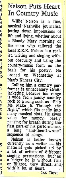05-18-73 NYT Review - Willie Nelson @ Max's Kansas City
