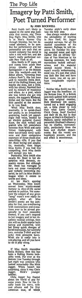 06-12-74 NYT Review - Patti Smith @ Max's Kansas City