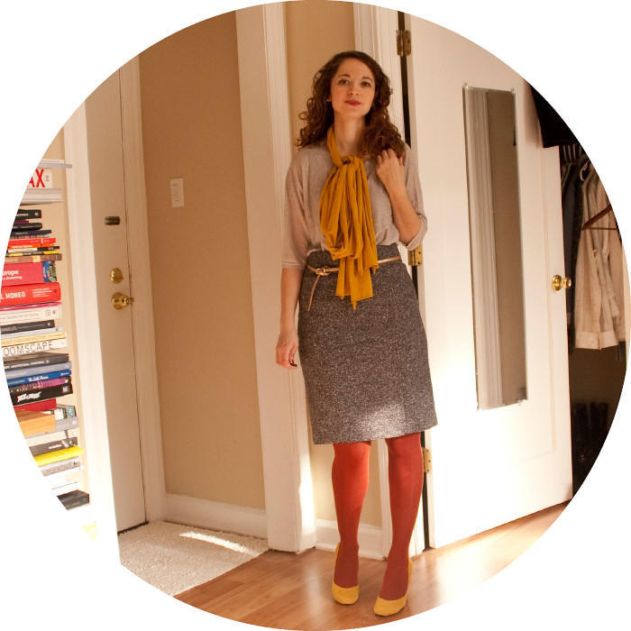 rust tights, mad men skirt, mustard bow scarf, yellow suede heels, ootd, dash dot dotty, wearing, outfit blog