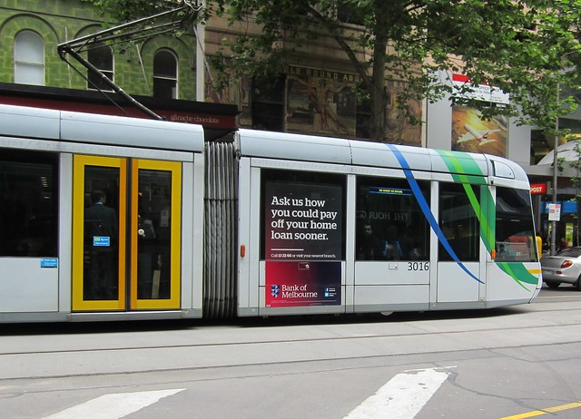 Tram with a bank on it