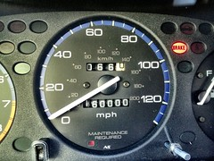 automotive exterior(0.0), wheel(0.0), steering wheel(0.0), city car(0.0), odometer(1.0), vehicle(1.0), gauge(1.0), speedometer(1.0), tachometer(1.0),