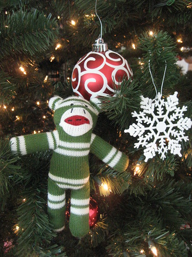 Sock Monkey Celebrates Christmas