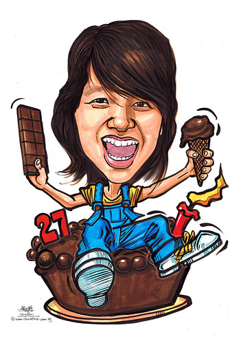 chocolate adorer birthday caricature