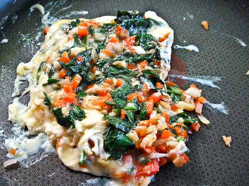 IMG_0734 Omelette with Artemisia Argyi,chopped carrot , ginger , onion , garlic