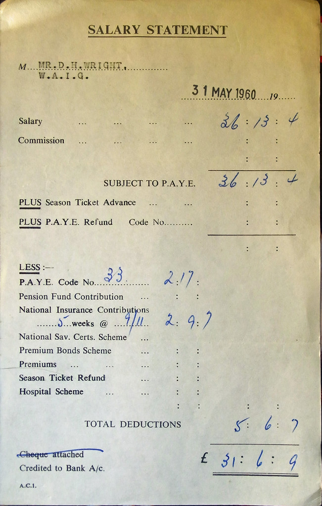 May 1960 Pay Slip