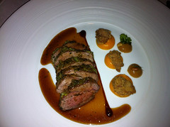 Best end of Devon lamb with sweetbreads, roasted butternut squash and pine nuts