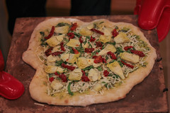 pizza, baked goods, produce, food, focaccia, dish, cuisine,