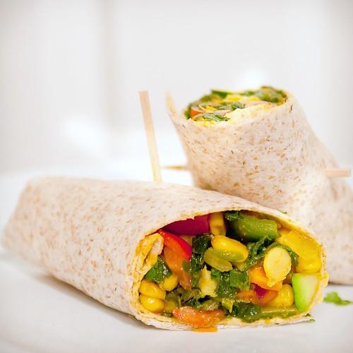 chickpea-veggie wraps